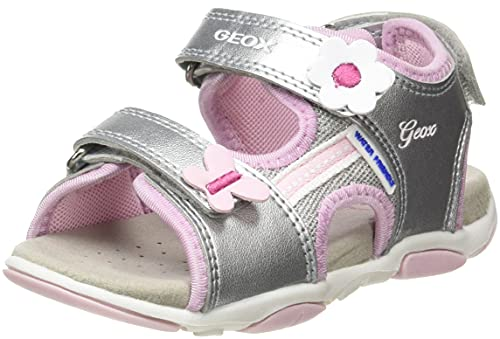Geox Baby-Mädchen B AGASIM Girl Sport Sandal, Silver/PINK, 25 EU