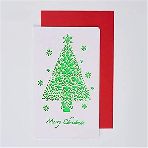 Wenskaarten BLTLYX 6 kaart + 6 envelop/set Cartoon uitgehold wenskaarten Creatief papier snijden Vrolijke kerstkaarten Vouwen Xmas Blessing Card 18 * 10.5cm kerstboom