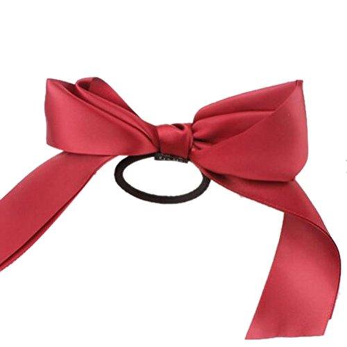 Ouneed® Bow Knot Satin Ponpom Elastique a Cheveux (C)