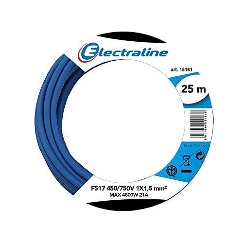 Electraline 13092 - Cable unipolar FS17, sección 1 x 1,5 mm², azul, 25 m