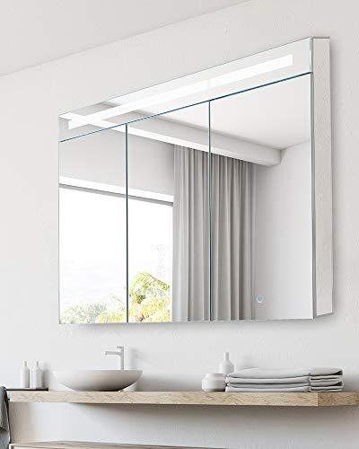 """Bathroom Medicine Cabinet, Aluminum, Recessed/Surface Mount, 36"""" x 30"""", 3 Door, Mirrored Interior w/LED"""