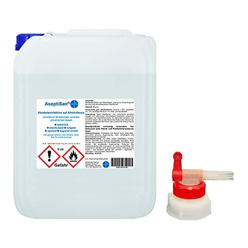 AseptiSan - VAH gelistet - 5 Ltr. Kanister inkl. 1 x AGH I Händedesinfektionsmittel I Pharmazentralnummer-16613756 I HERRLAN Qualität I Made in Germany