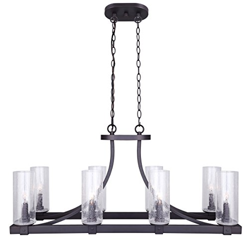 """CANARM ICH633A08ORB Nash 8 Light Chandelier With Seeded Glass, 12.5"""" x 34"""" x 16.5"""", Oil Rubbed Bronze"""