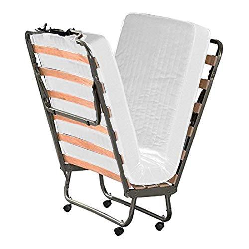Cortassa - Cama plegable con colchón de espuma viscoelástica de 10 cm de altura, estructura de somier individual de láminas de madera de 80 x 200 cm, cama ahorra espacio con ruedas