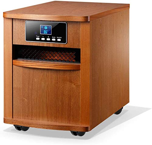 Homeleader Infrared Heater, Portable Space Heater, Electric Heater with Remote Control, Digital Infrared Quartz Heater, 1500W