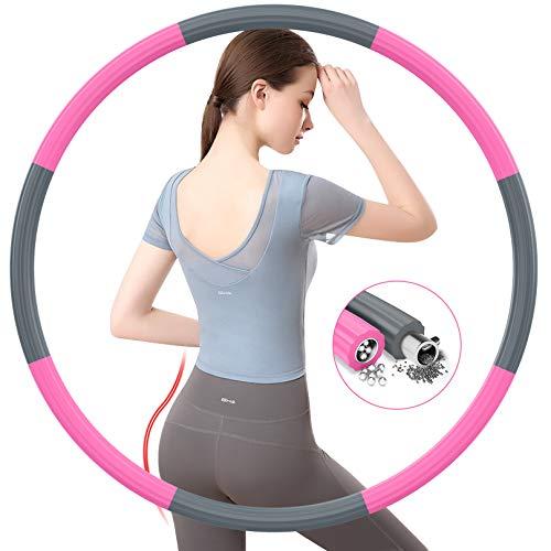 BLAIKOYI Hula Reifen Hoop Erwachsene, Fitness Hoola Easy Slim Hoop zur Gewichtsreduktion, 8 Abnehmbare Reifenprofile mit Edelstahl-Innenkernrohr,Gewichte einstellbar von 1,2 bis 3,5 kg(Grau+Pink)