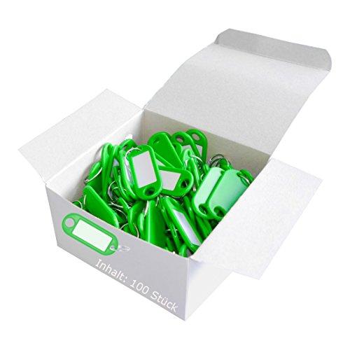 Wedo 262801804 Schlüsselanhänger Kunststoff (mit Ring, auswechselbare Etiketten) 100 Stück, grün
