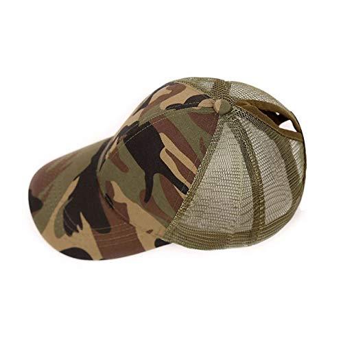 Gorra de béisbol con Cola de Caballo con Purpurina, Gorra Snapback Ajustable, Sombreros de papá para Mujer, Gorras con moño desordenado,Gorra deMalla de Hip Hop-Camouflage
