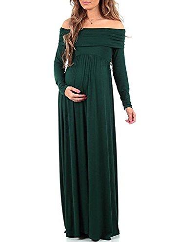 BEDAMALL Damen Umstandskleid Mutterschaft Maxi Kleid Bodenlänge Langarm Sexy Fotografie Schwangerschaft Kleid