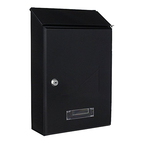 Rottner brievenbus Pisa antraciet, kleine brievenbus, naambordje, kijkvenster, cilinderslot