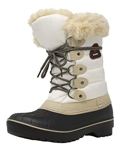 DREAM PAIRS Damskie buty śnieżne ze sztucznego futra, z podszewką, na połowie cielęciny, - 1 beżowy biały - 43 EU