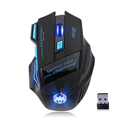 Mouse óptico de computador LED, Baugger F14 LED Optical Mouse de Computador 2.4G 2.400 DPI 7 Botões Sem Fio Gaming Mouse Colorido Luzes de Respiração para Pro Gamer