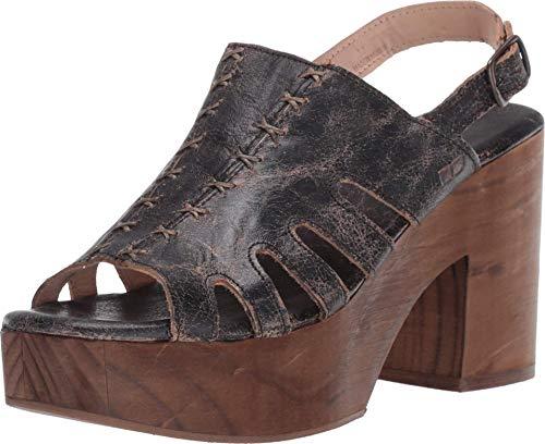 Bed|Stu Fontella Women's Leather Heel - Leather Platform Sandals - Platform Heel with Buckle Closure - Black Lux - Size 8.5