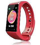 F-FISH Activity Tracker HR Orologio Fitness Tracker Pressione Sanguigna Cardiofrequenzimetro da Polso Uomo Donna Impermeabile Smartwatch Sonno Braccialetto (Rosso)