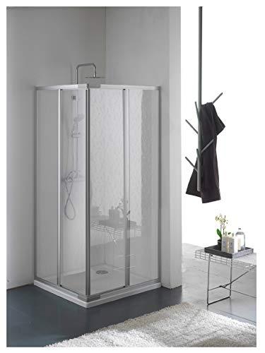 Duschabtrennung, Duschkabine, Größe: 80 x 80 cm, H 185 cm, aus Acrylglas Plexiglas thermoplastischer Kunststoff, Eck-Öffnung Eckeinstieg, 2 Schiebetüren, Profilfarbe Silber Satiniert