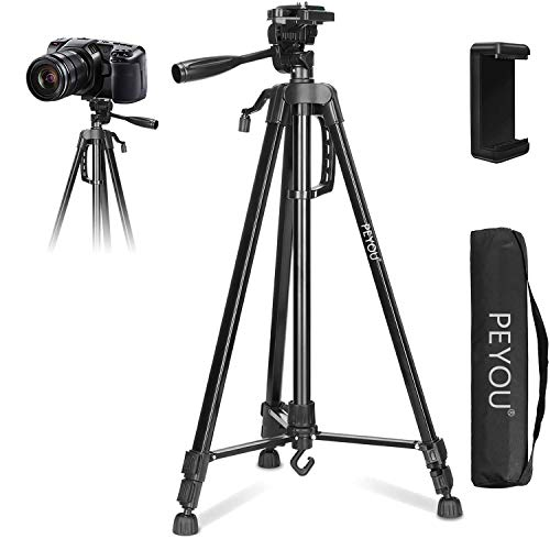 """PEYOU Hand-held Tripod for Phone with Remote,50"""" Aluminum Camera Tripod + Wireless Remote + Phone Holder Mount Compatible for iPhone 12 Pro Max/11 Pro/X/8 Plus/7,Galaxy Note 9/8/S10/S9/ (Black,63 Inch"""