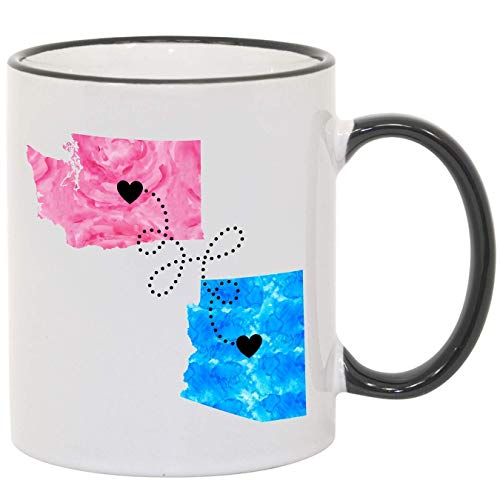 Long Distance Relationship Mug, Personalize, States, Countries and Provinces, 11oz or 15oz