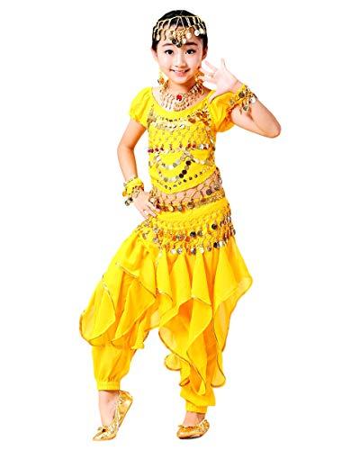 Grouptap Bollywood niños Indios kuchipudi bharatanatyam Princesa Danza del Vientre Azul/Rojo/Amarillo 2 Piezas Pantalones de Onda Traje Traje niños niñas
