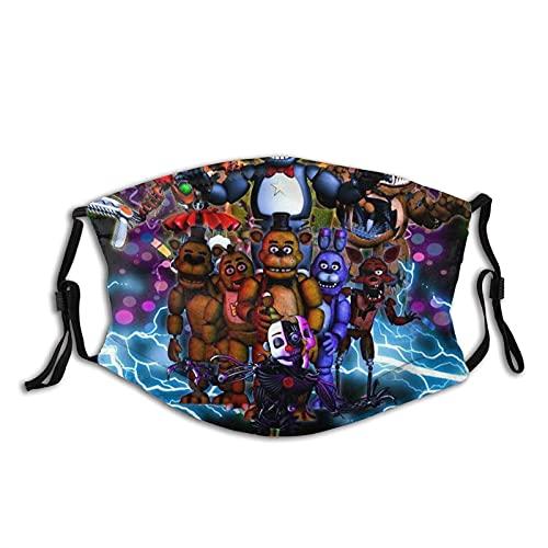 rebecc Freddie'S Five Nights At Freddy'S (11) Cubierta de la boca cubre la cara, unisex, lavable, reutilizable, ajustable, para deportes al aire libre, decoración facial