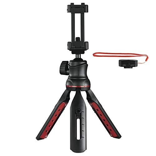 Hama Handy Stativ mit Bluetooth Fernauslöser (Selfiestick, Kamerastativ mit Handyhalterung, Reisestativ mit 3D-Kugelgelenk, 1/4 Zoll Gewinde für Smartphone und Spiegelreflexkamera) schwarz