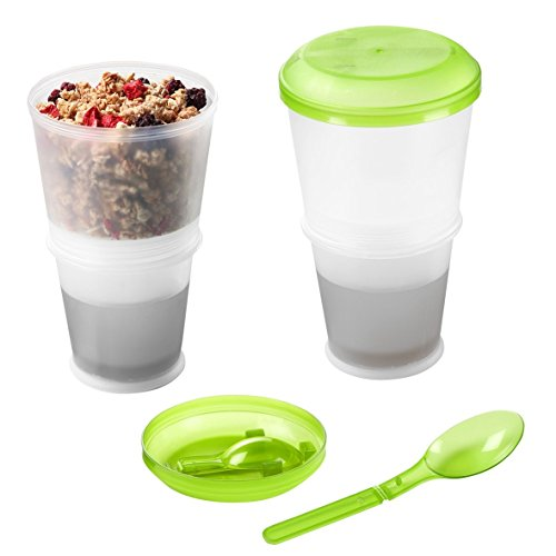 Cereal Cup, Granola Travel Mug Insulated Milk Cooling Compartment - Muesli on the go by DELIAWINTERFEL