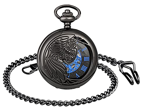 SUPBRO Reloj de bolsillo para hombre y mujer, diseño de águila, analógico, con cadena, Negro ,