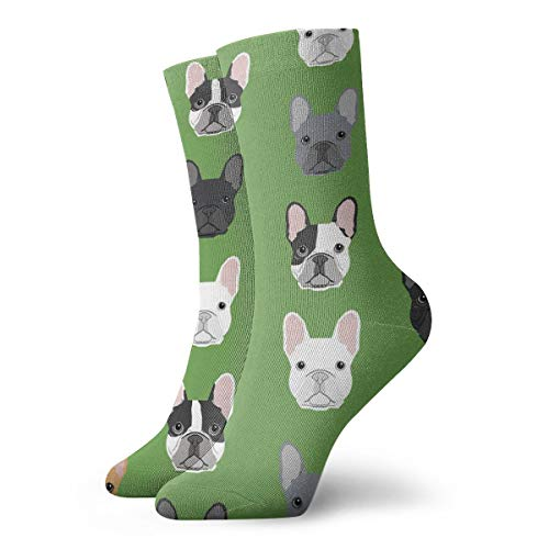 NEWINESS Green Frenchie Dog Comfortable Lightweight Compression Socks Thin High Ankle Cotton Socks Casual Novelty Dress Socks Athletic Football Running Women Men Teens