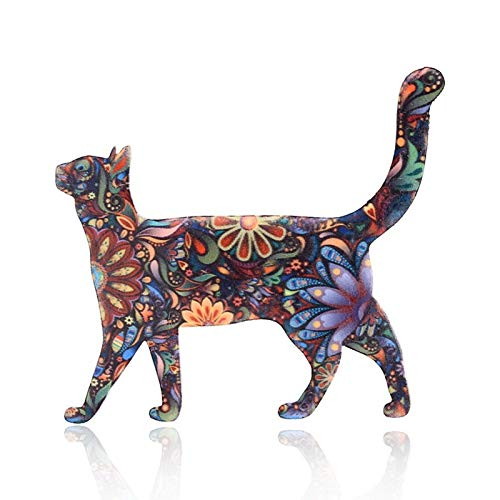 NXCY01 Acrylic cat brooch for women brooch collar pins corsage printing pet brooch badges ethnic jewelry accessories K40 (Metal color : A2)