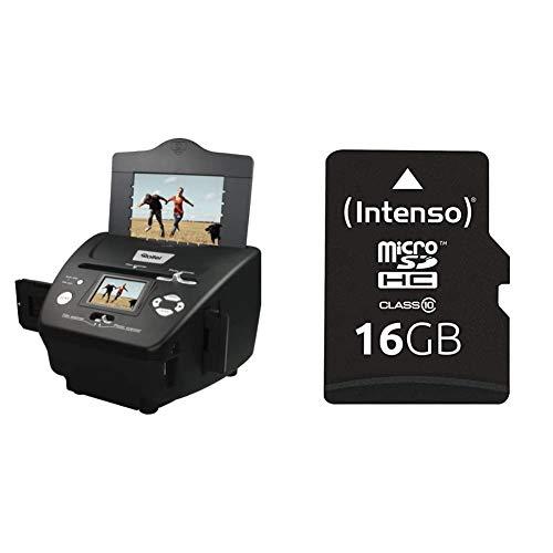 Rollei PDF-S 240 SE - Multiscanner für Fotos, Dias und Negative, sekundenschneller Scanvorgang, inkl. Bildbearbeitungssoftware - Schwarz & Intenso Micro SDHC 16GB Class 10 Speicherkarte
