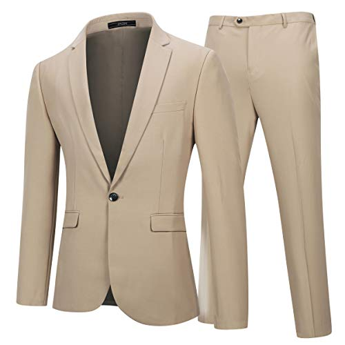 YFFUSHI Mens 2 Piece Suits One Button Formal Slim Fit Solid Color Wedding Tuxedo Beige