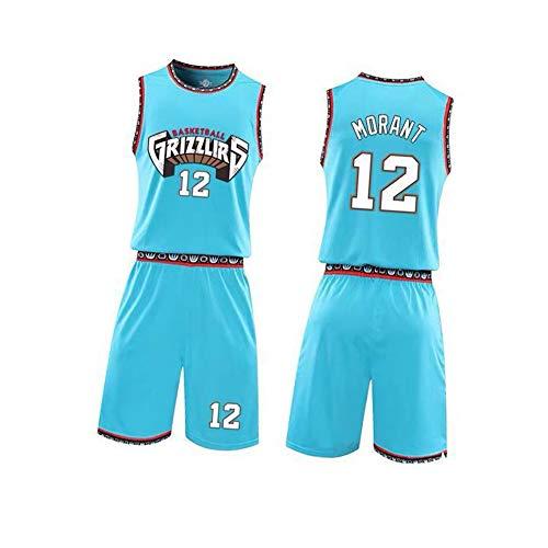 NBNB Ja Morant Vancouver Grizzlies 12# Basketball Trikot Set Herren, Basketball Movie Jersey Shorts Sommer Trikots Top & Short, Bequem und atmungsaktiv XXL-Blue Lake-L(175~180cm)