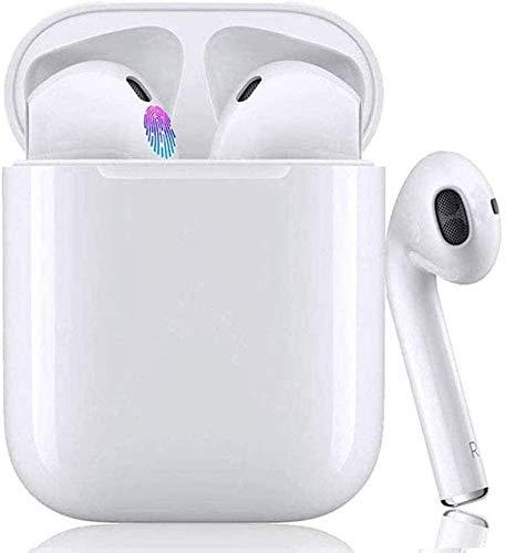 Auriculares Bluetooth 5.0,Auriculares inalámbricos, Control táctil,micrófono Incorporado y Caja de Carga, reducción de Ruido estéreo 3D HD, compatibles con TV, Smartphone, Tablets -Blanco