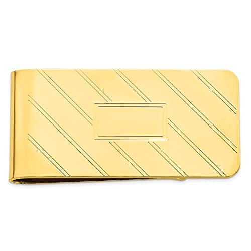 Clip de dinero chapado en oro de 14 quilates sólido pulido grabable grabado en diagonal línea dinero clip joyería regalos para hombres