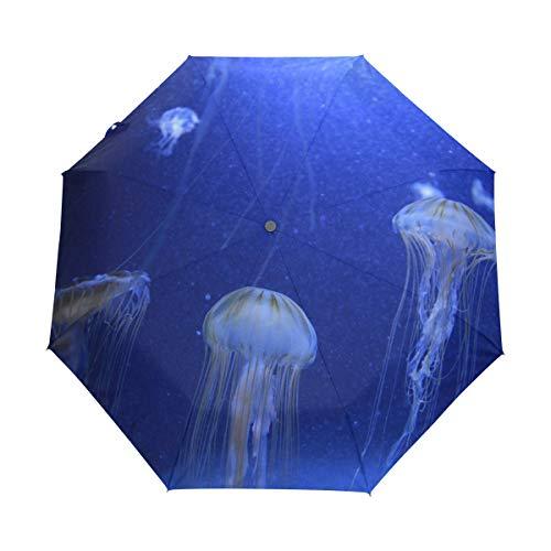 FANTAZIO Dreifach faltbarer Reise-Regenschirm, fantastischer Quallen-Regenschirm mit automatischer Öffnung, leicht