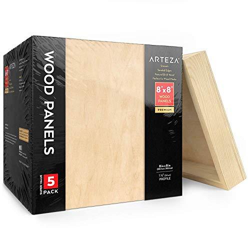 Arteza Holz Leinwand, 20 x 20 cm, 5er Pack, Birkenholz, Holz zum Bemalen, Enkaustik, Holz brennen, Pouring, Verwendung mit Öl und Acrylfarben