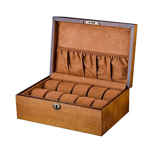 AWJ Caja de Reloj de Madera con Cerradura Caja de Almacenamiento de Reloj de 10 Ranuras de Madera para Hombre Caja de Regalo de joyería Cajas de presentación de Reloj de Marca mar