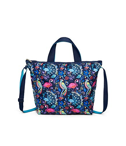 LeSportsac Coconut Grove Deluxe Easy Carry Tote Crossbody + Top Handle Handbag, Style 2431/Color F651, Tropical Paradise - Pelicans, Peacocks, Parrots & Vibrant Flowers, Navy/Turquoise 2 Tone Strap
