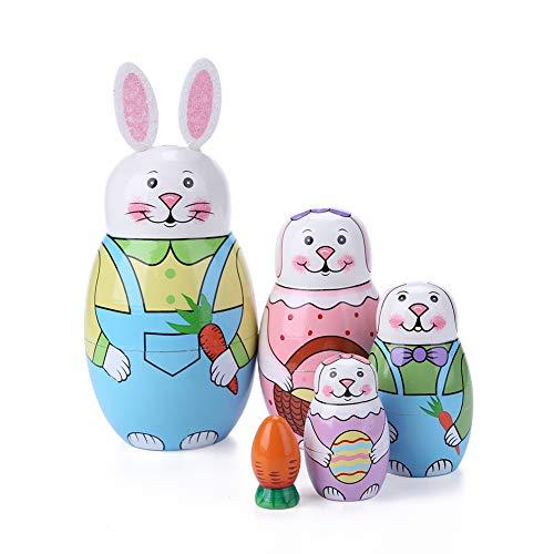 5 Pezzi Coniglietto Pasquale Matrioska, Bambola Matrioska Russa di Legno, Pasqua Souvenir Bambola Nesting Dipinta, Bambini Giocattoli per Compleanno, Home Decor
