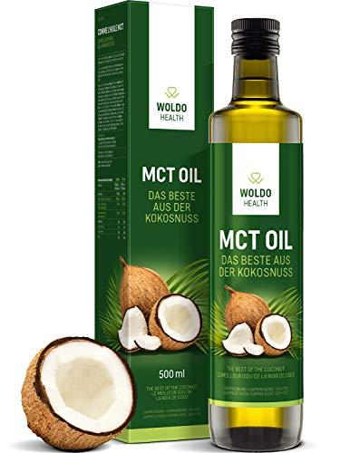 WoldoHealth 500ml MCT Oil 100% huile de noix de coco en bouteille de verre goût neutre C8 C10