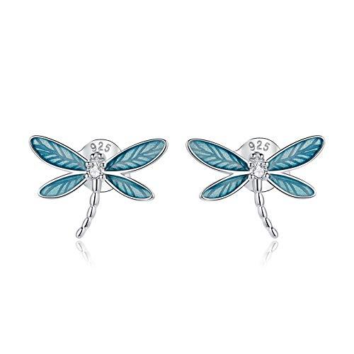 JQAM Pendientes hipoalergénicos S925 de Plata esterlina con Temperamento de Insecto Azul Que gotea Aceite de libélula BSE455