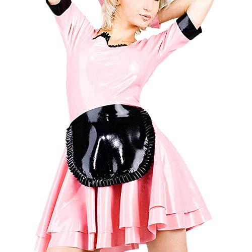 Lederunterwäsche für DamenLatex Maid Outfit Rosa Latexkleid Uniformanzug mit Schürze (ohne Handschuhe) -White_XXS