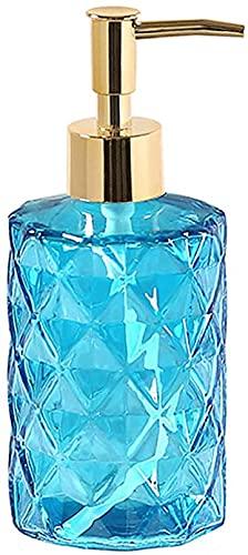NBXLHAO Dispensador de jabón Dispensador de jabón de Vidrio con Bomba de Metal, Accesorios de baño para el hogar, decoración de Granja para frascos de aceites Esenciales con Bomba, óxido 330 ml,Azul
