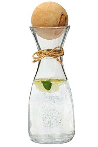 Dekobox Original Zillertaler Wasserkaraffe 1L Rocco inkl. Zirbenkugel XL - Zirbenwasser mit wohltuenden Eigenschaften