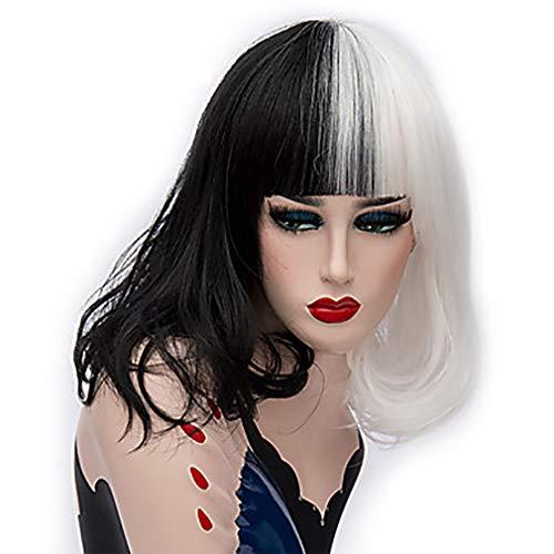 ATAYOU® Mujeres Bob Pelucas Cortas - Moda Medio Negro Y Medio Blanco Pelucas De Mujeres Sintéticas Para Cosplay Fiesta De Halloween Disfraz Disfraz