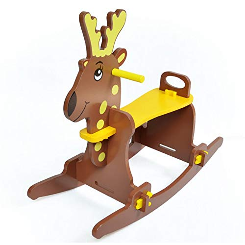 Best Bargain YUMEIGE Rocking Ride-Ons Wooden Rocking Horse,Wooden、Cartoon Pose、Animal Riding R...