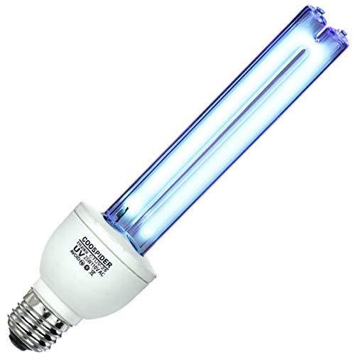 UV Germicidal Lamp Compact UVC Light Bulb E26 25w 110v Covers up to 400sq ft. UVC Ozone Free