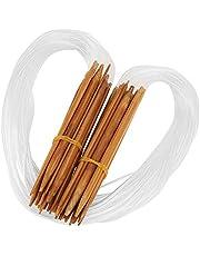 Delaman Kit de Ganchos de Ganchillo de Bambú Aguja de Punto Circular de Punto Doble, Tamaños de 0,2-1 cm con Tubo Transparente