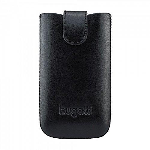 bugatti Echtledertasche für z.B. Sony Xperia Z3 Compact oder Samsung Galaxy S4 uvm. - schwarz [Größe: XL | Handarbeit | Einfache Entnahme | Gürtelschlaufe | Magnetverschluss] - 07883