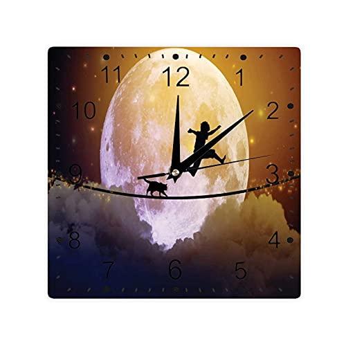 Niño Y Un Gato Caminando En Una Frente De La Luna Llena Imagery Impresión Color Cuadrado Morden Reloj Slient