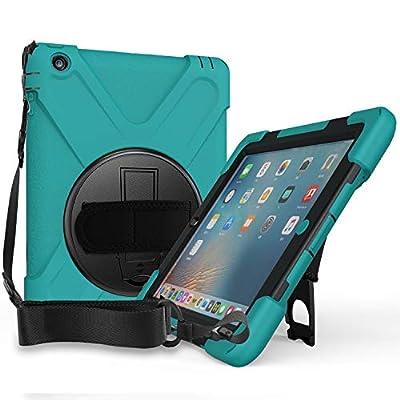 ProCase Bumper con Correa Hombro iPad 2 3 4, Carcasa Rugosa con Soporte Rotativo Asa de Mano, Funda Robusta Antichoque para iPad 2 / iPad 3.ª / iPad 4.ª Generación –Verde Azulado